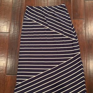 Loft Navy and Cream MAXI skirt- size large